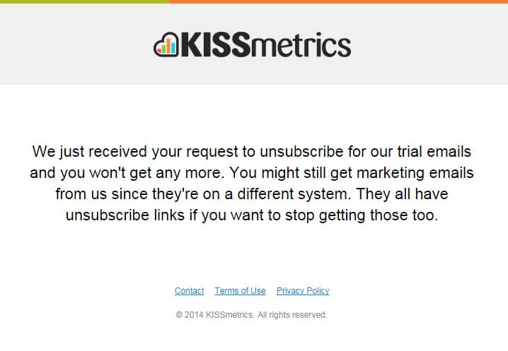 KISSmetrics Unsubscribe email template