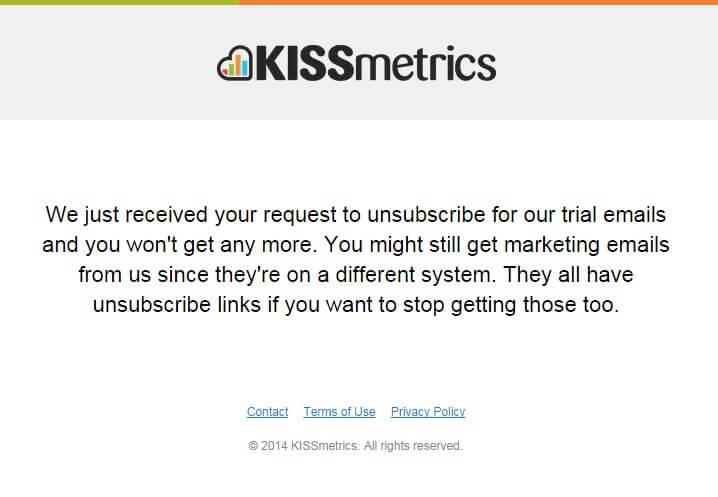 KISSmetrics Unsubscribe email template