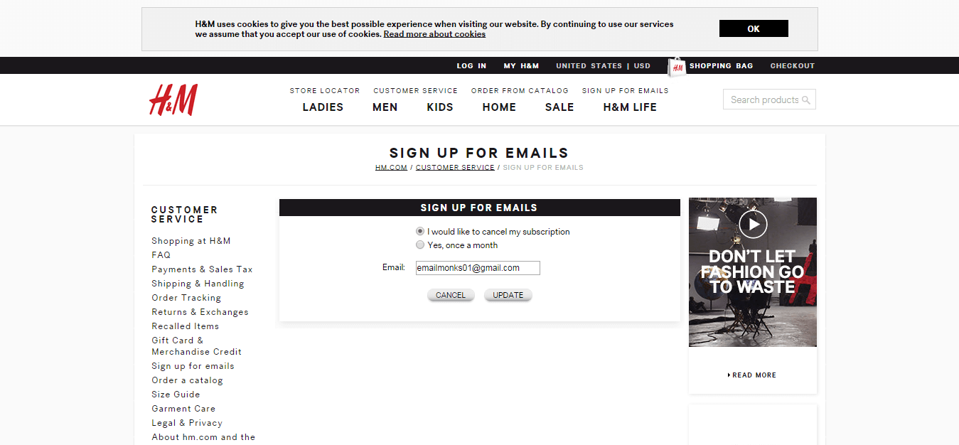 H&M Unsubscribe