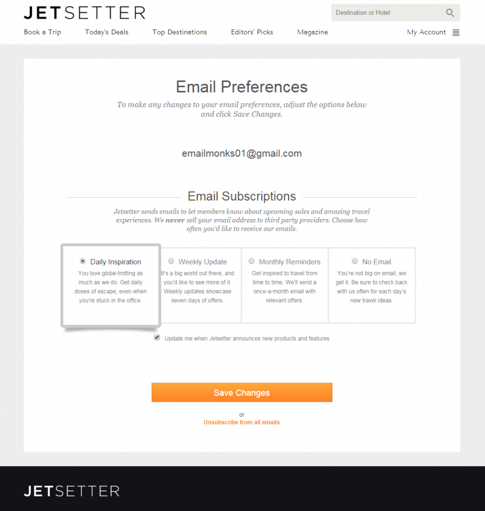 Jetsetter Email Preference