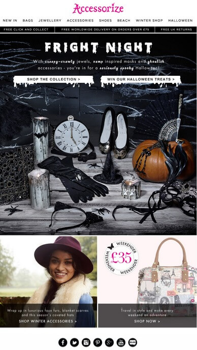 Halloween email templates- Accessorize