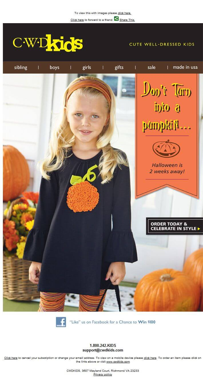 Halloween email design- CWD Kids