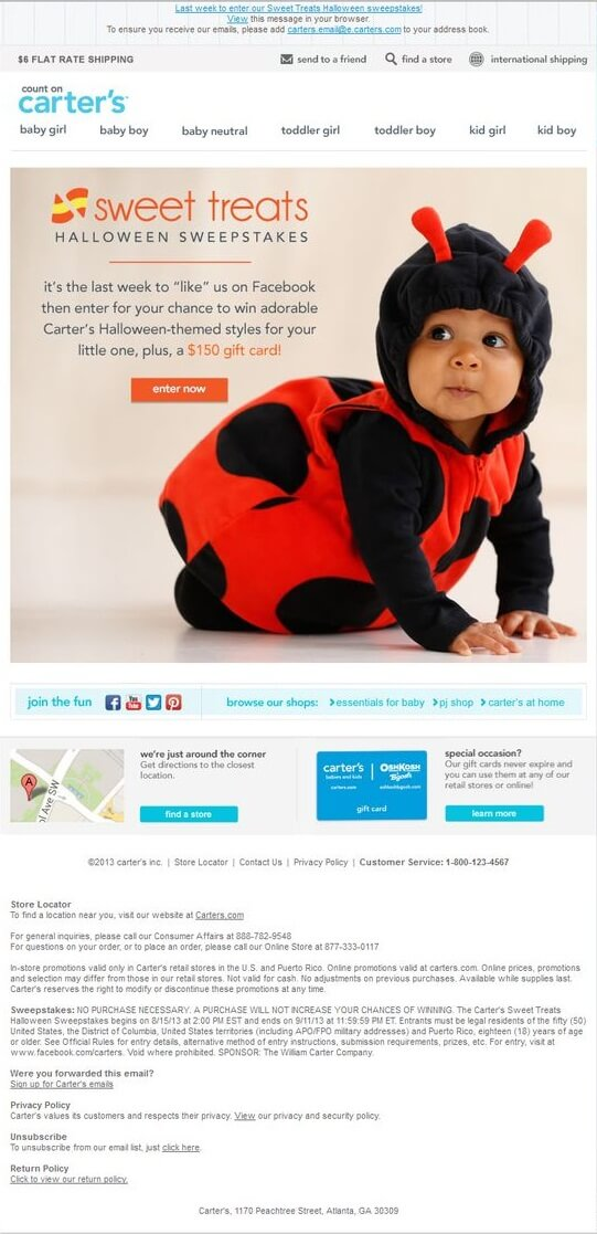 Halloween email templates- Carter's