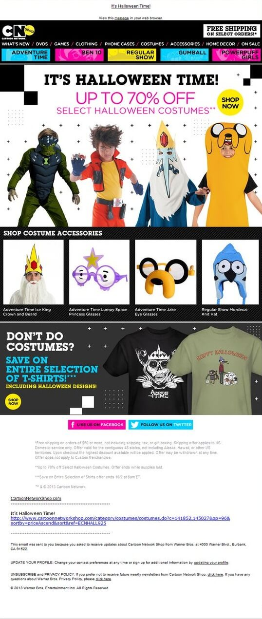 Halloween email design- Cartoon Network