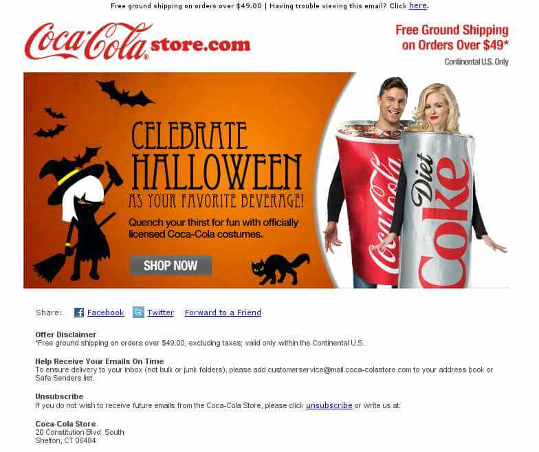 Halloween email design- Coca Cola