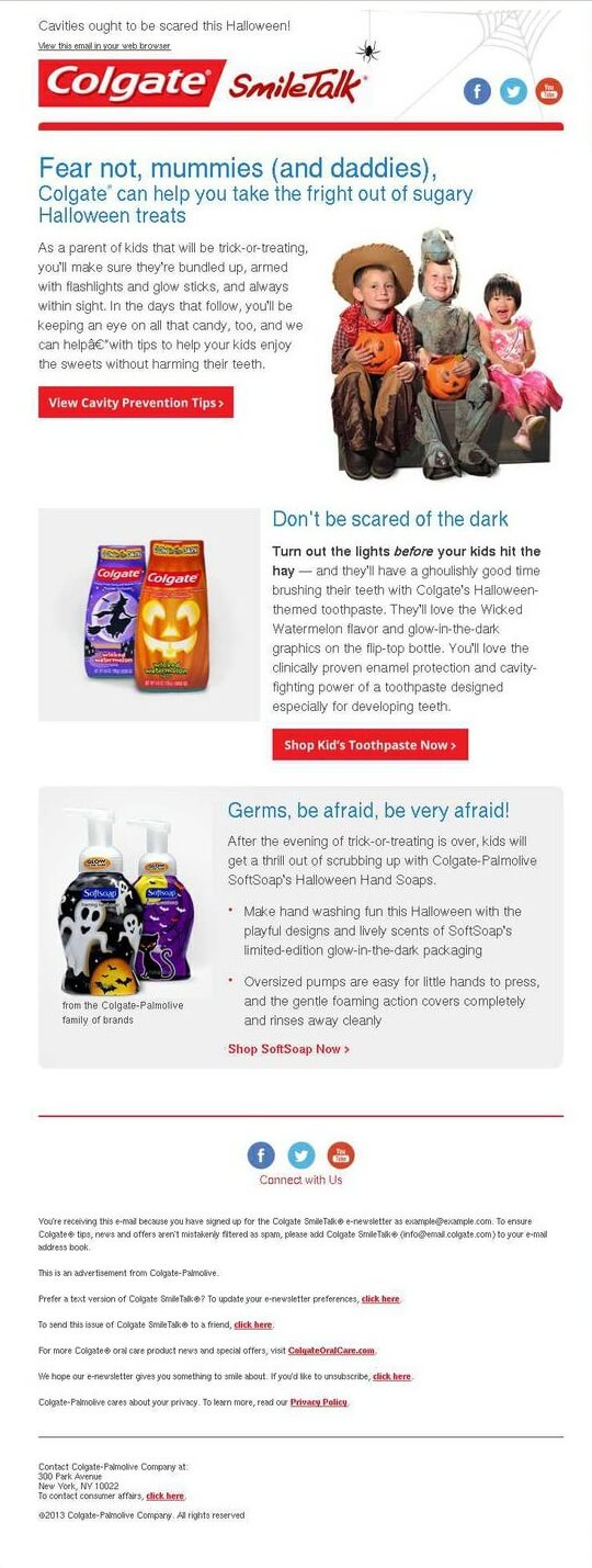 Halloween email templates- Colgate