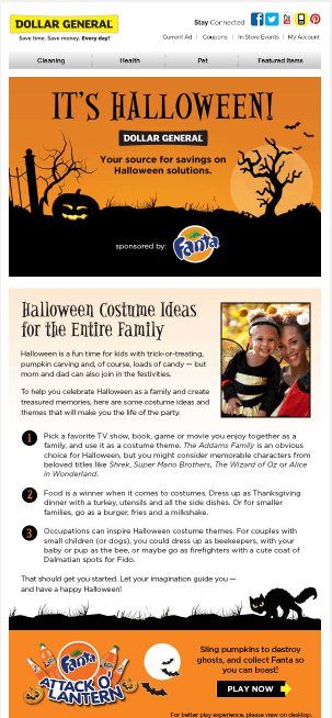 Halloween email templates- Dollar General