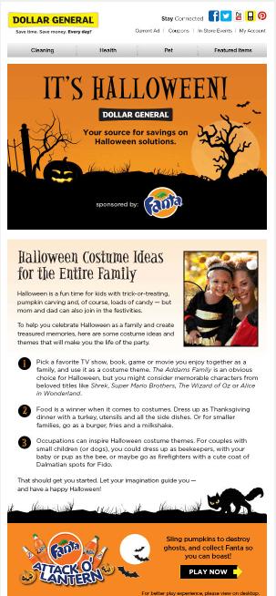 Halloween email design- Dollar General