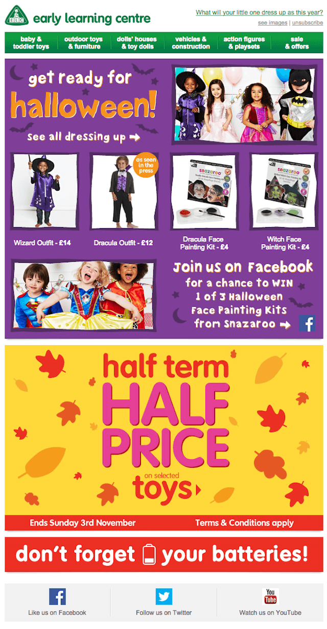 Halloween email design- Early Learning Centre