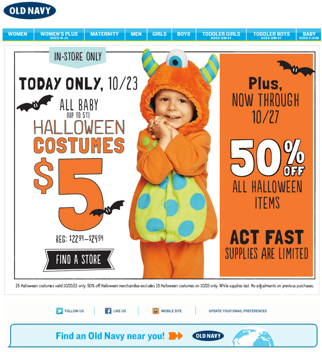 Halloween email design- Old Navy