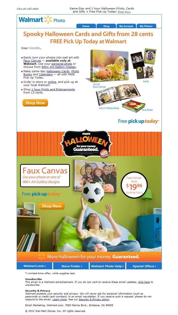 halloween email design walmart