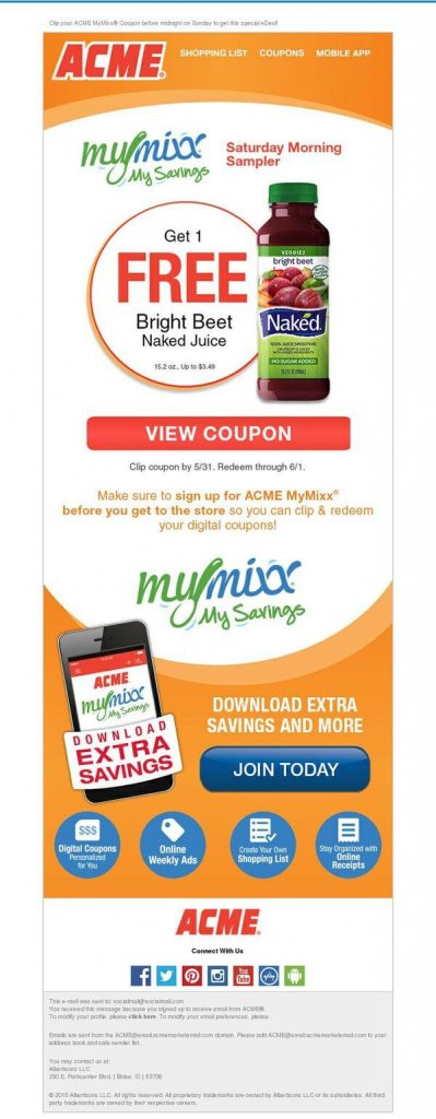 Supermarket email inspiration- ACME