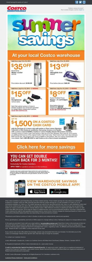 Supermarket email inspiration- Costco