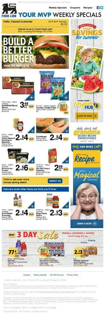 Supermarket email inspiration- Food Lion