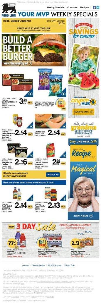 Supermarket email inspiration- Food Lion