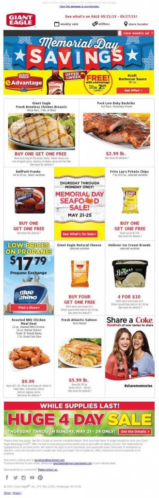 Supermarket email inspiration- Giant Eagle