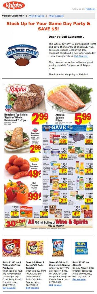 Supermarket email inspiration- Ralphs