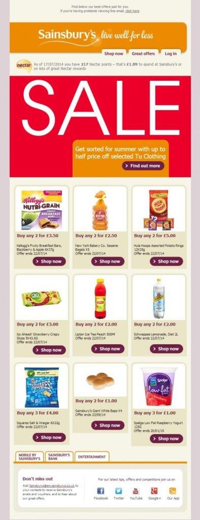 Supermarket email inspiration- Sainsburys