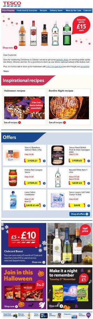 Supermarket email inspiration- Tesco