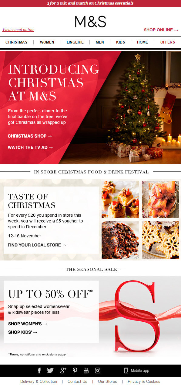 Email design inspiration- Marks and Spencers