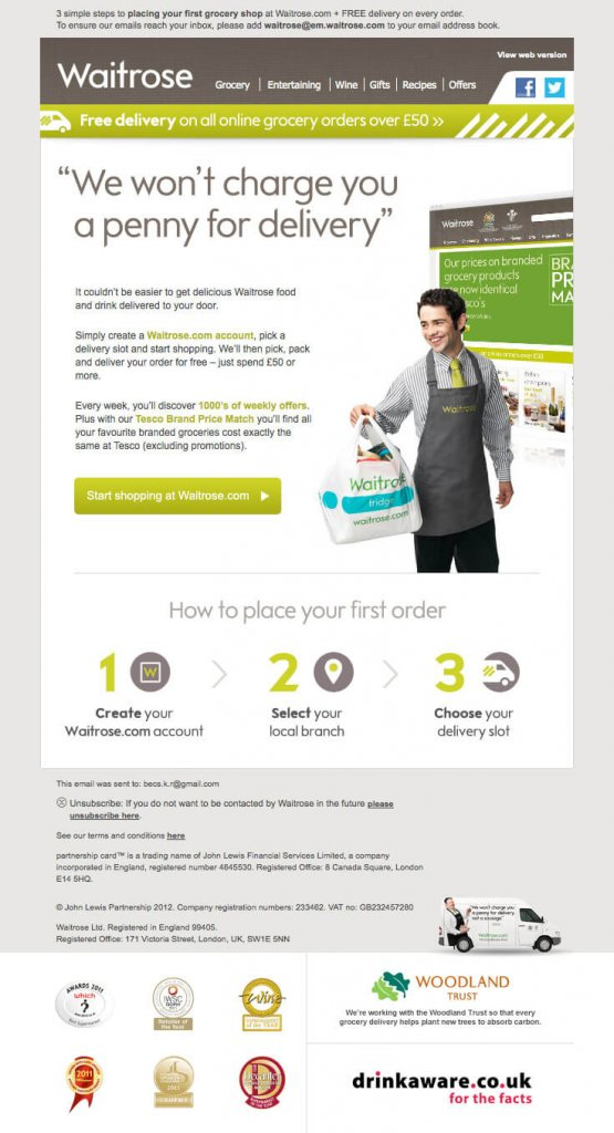 Supermarket email inspiration- Waitrose