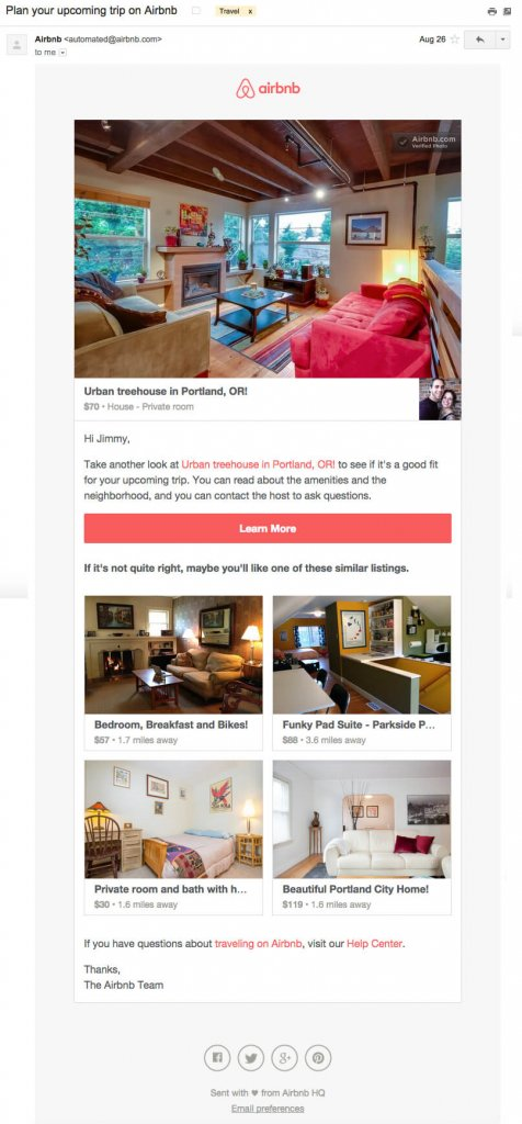 Email inspiration- Airbnb (Shared Economy space)