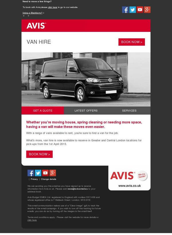 Email inspiration- Avis (Shared Economy space)