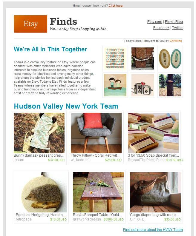 Email inspiration- Etsy (Shared Economy space)