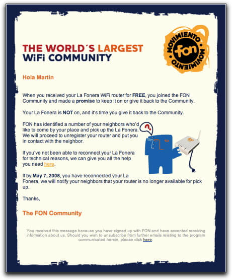Email inspiration- Fon (Shared Economy space)