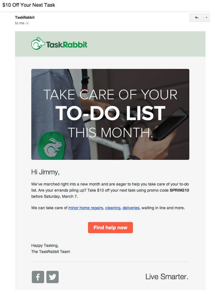 Email inspiration- TaskRabbit (Shared Economy space)