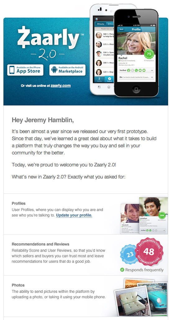 Email inspiration- Zaarly (Shared Economy space)