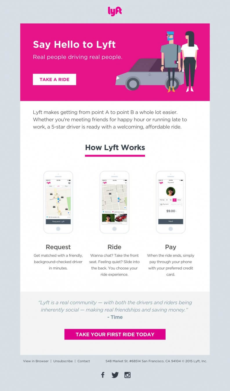 Email inspiration- lyft (Shared Economy space)