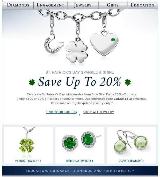 Blue Nile - email templates for st patricks day