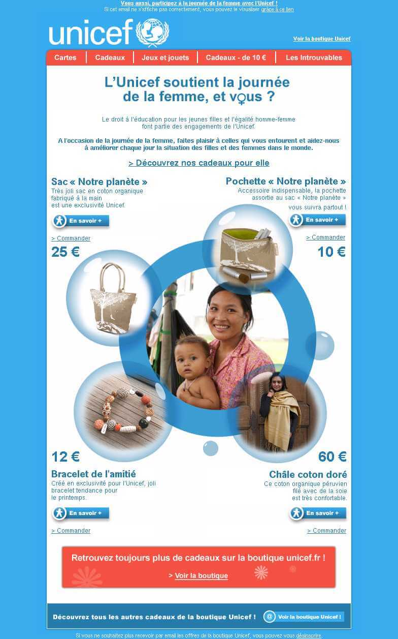 womens day email examples - UNICEF