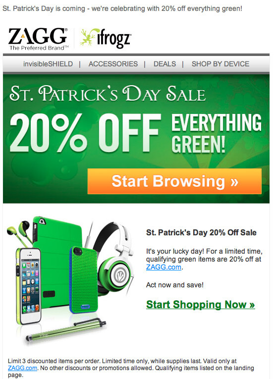 email template examples for St Patricks day - zagg