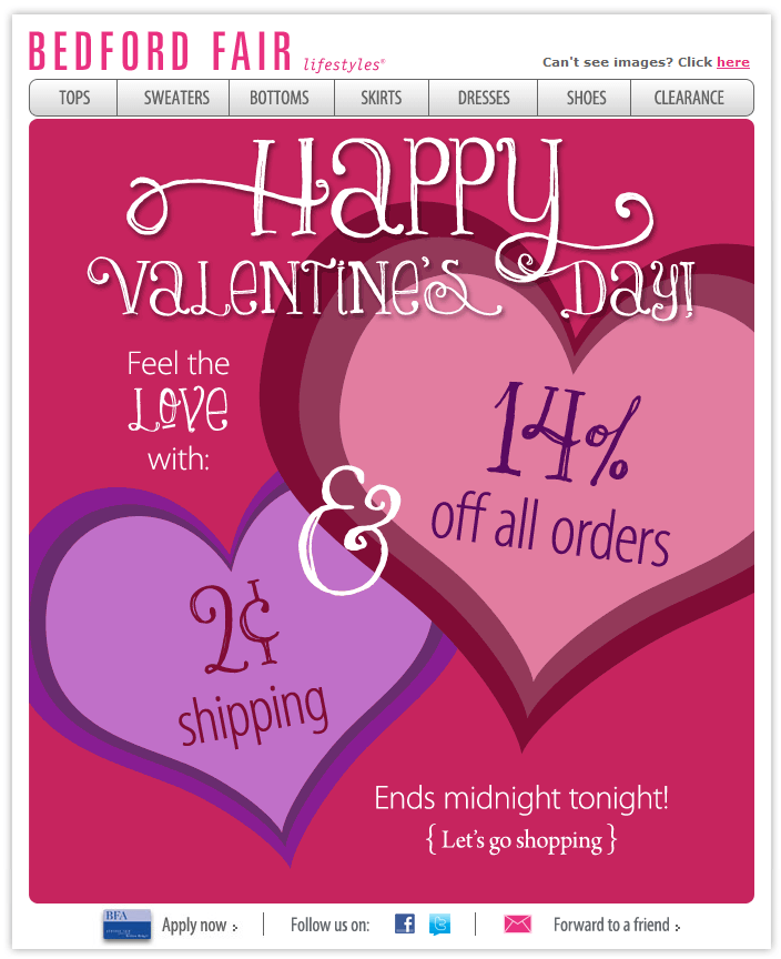 bedford valentine day email