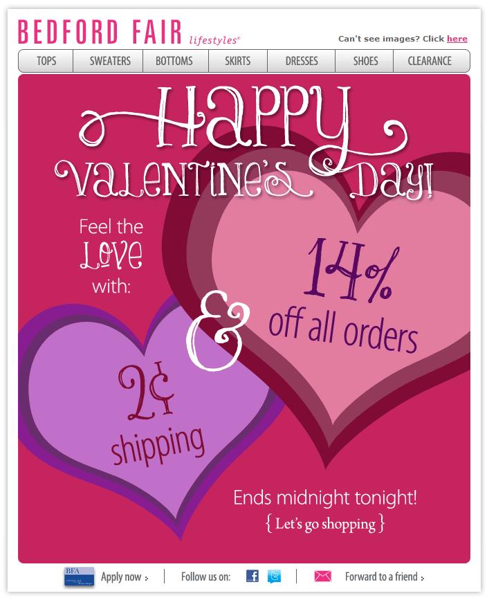 bedford valentine day email