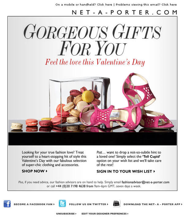Valentines special email tips that you shouldnt miss net a porter valentines day email negle Gallery