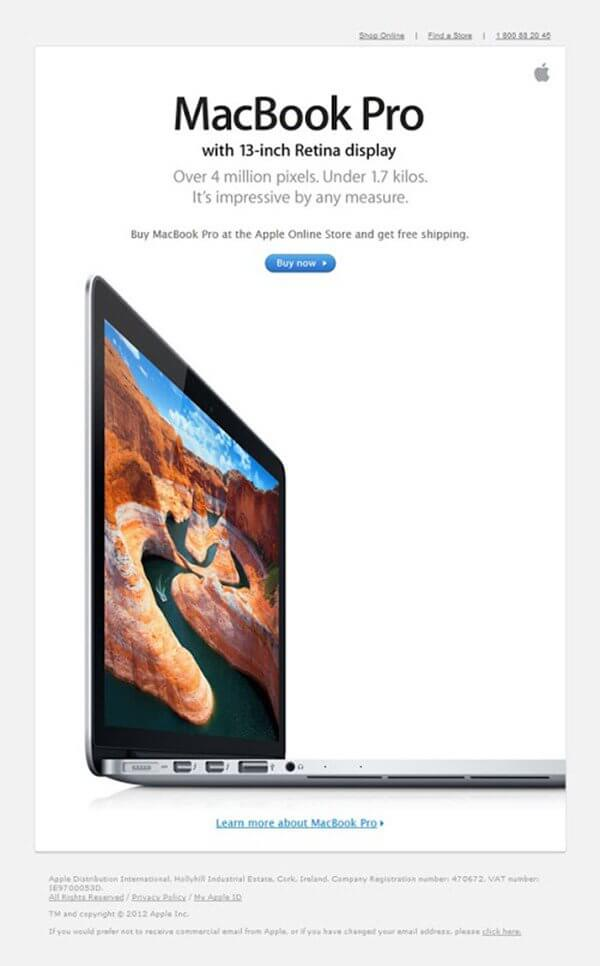 Email design examples- Apple