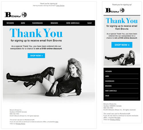 Email design examples- Browns