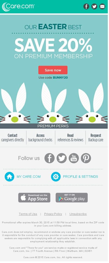 Care_Easter email campaign example