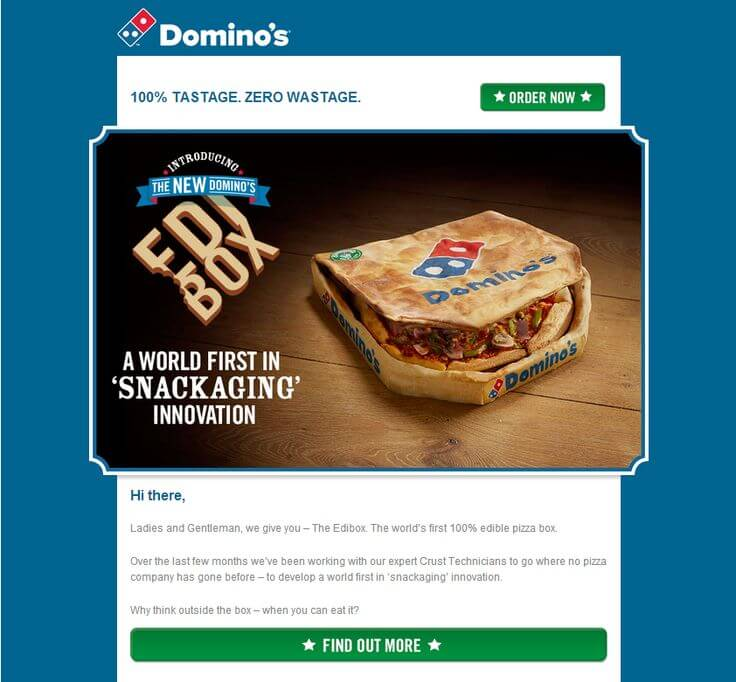 Dominos-april fools day email example