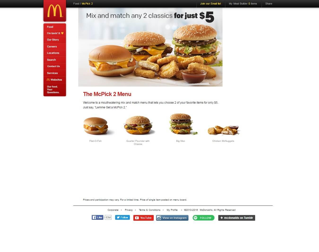 McD Landing Page