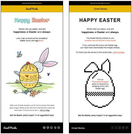 Email Monks - Easter email example