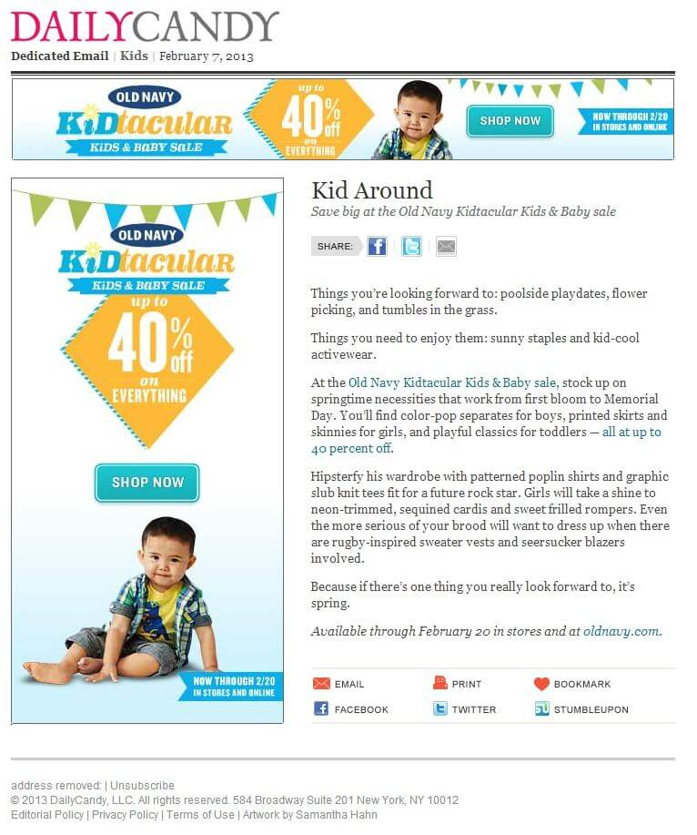 Email design examples- Old Navy Kidtacular