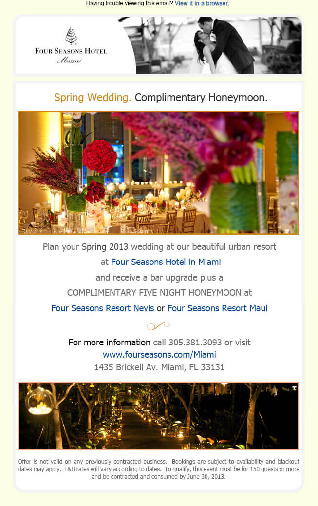 Wedding Promo Email by Four seasons Hotels