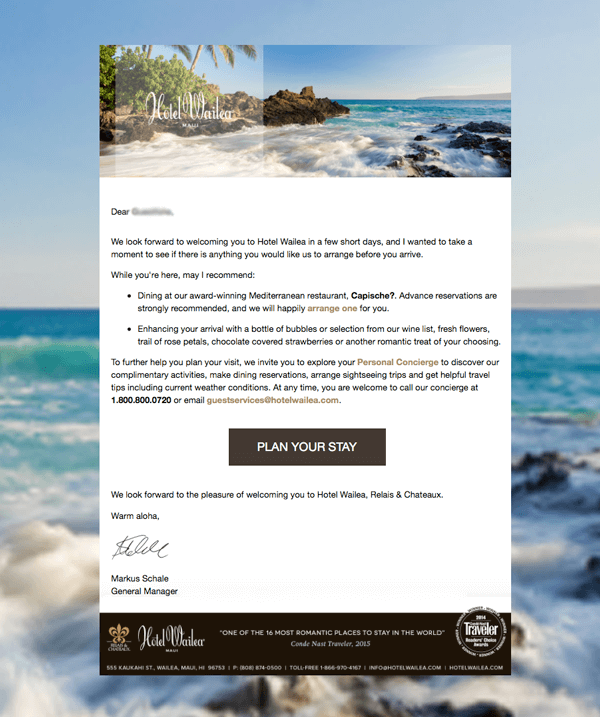 Hotel Wailea Cross Sell Emails