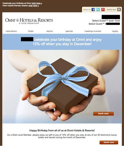 Omni Hotel Birthday Emails