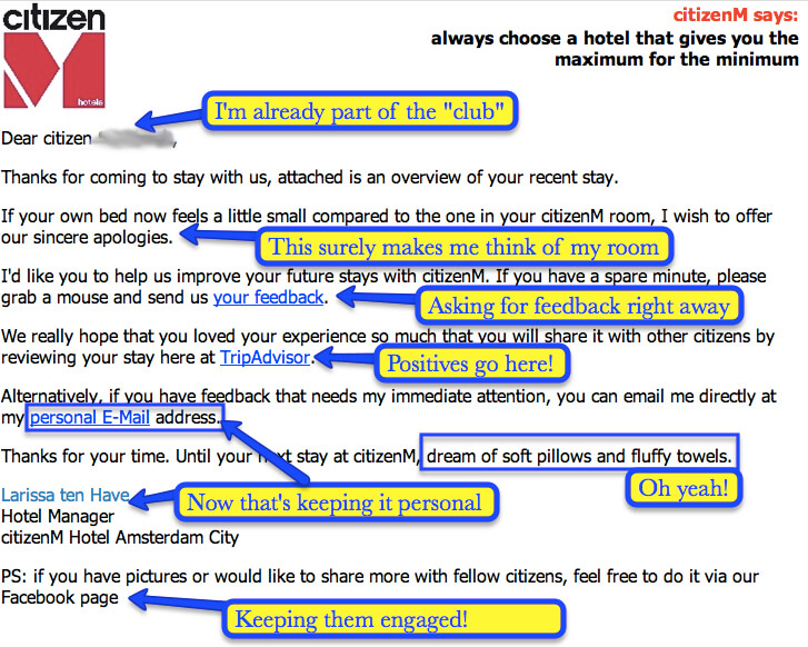 CitizenM Feedback Email Inspiration