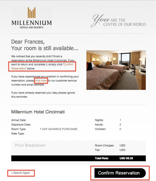 Cart Abandonment Emails by Millenium Hotels